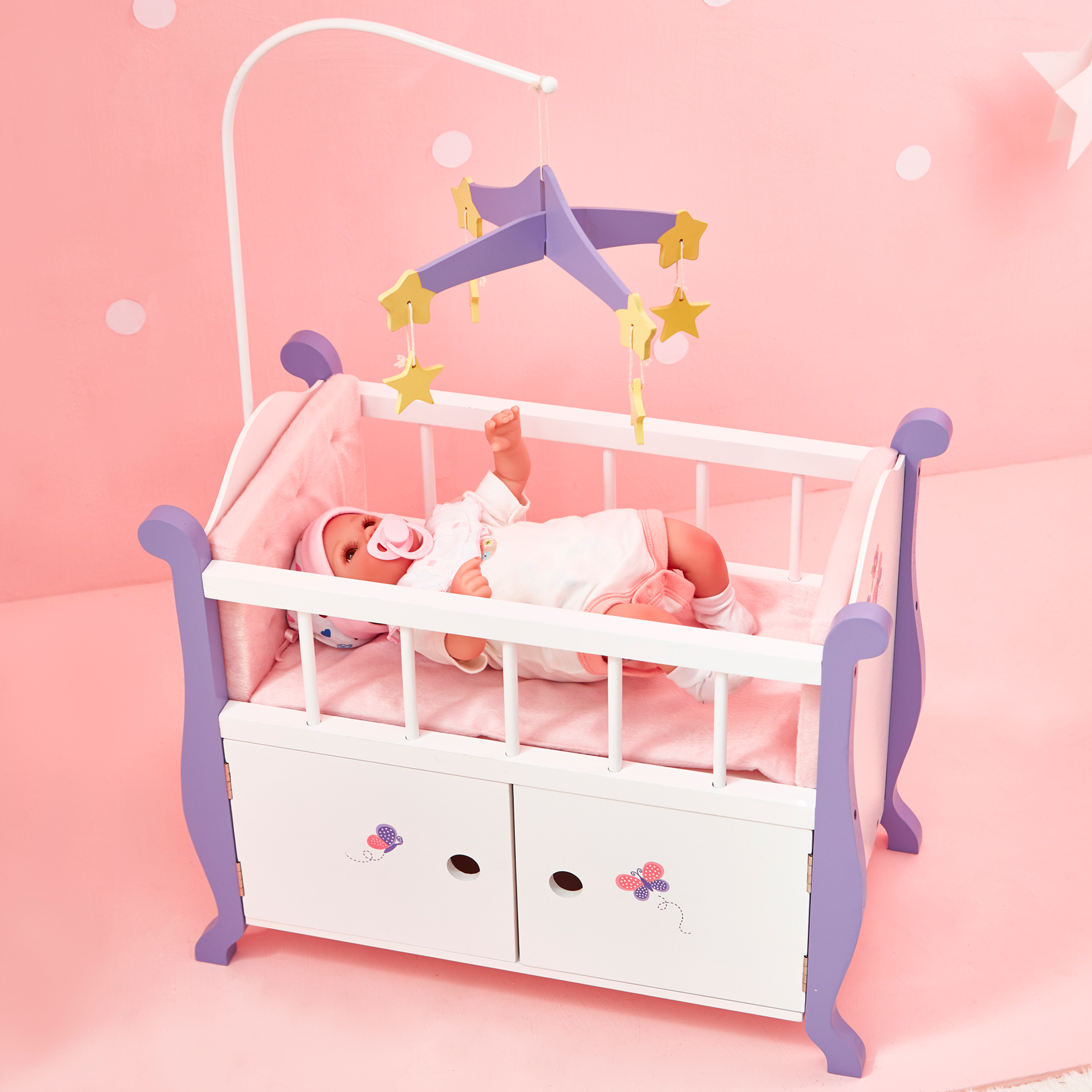 Picture of: Olivia S Little World Baby Doll Wooden Cot Bed Crib Storage Doll Furniture Ebay