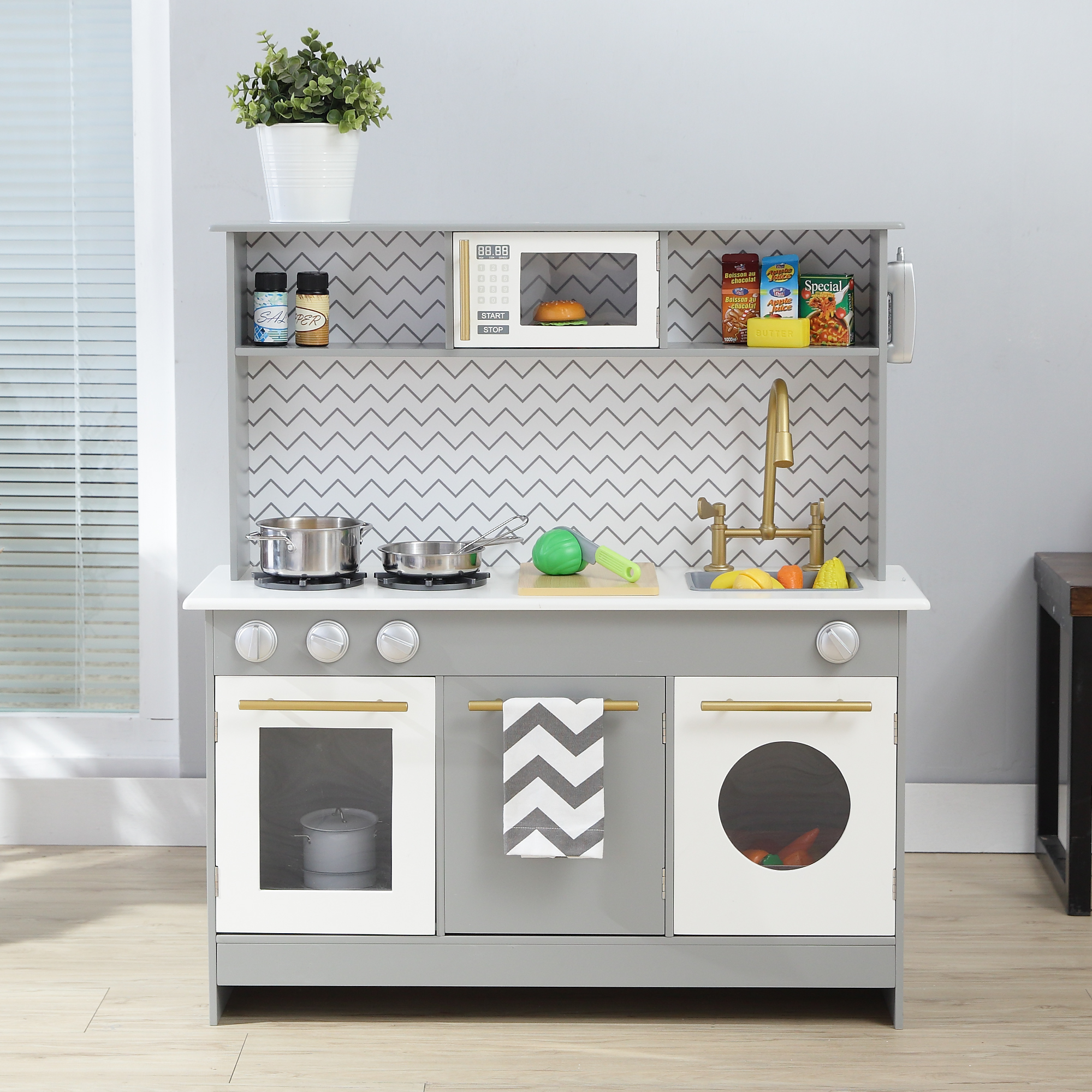 Wooden Play Kitchen With Oven Cooker Sink Teamson Kids Uk